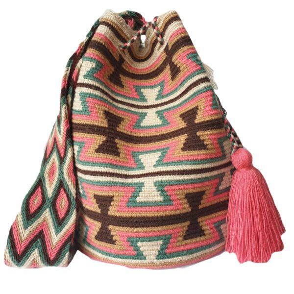 kolorowa torebka robiona na szydełku w kształcie worka