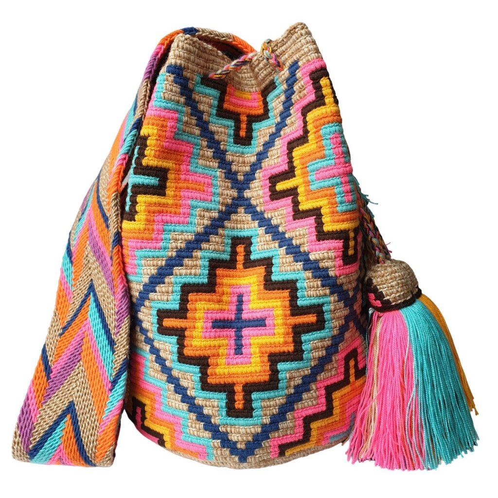 torebka mochila w stylu boho we fluo wzory w kształcie krzyży
