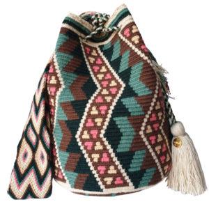 boho worek z pomponami ręcznie robiony pastelowy wakacyjny kolorowy