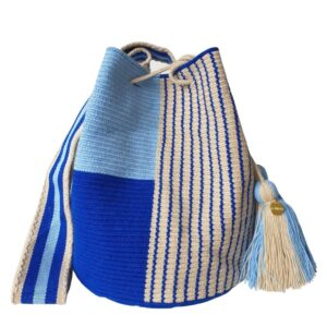 boho plecioną błękitna torebka we wzory