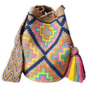 kolorowa wakacyjna torebka wzory fluo z pomponami mochila