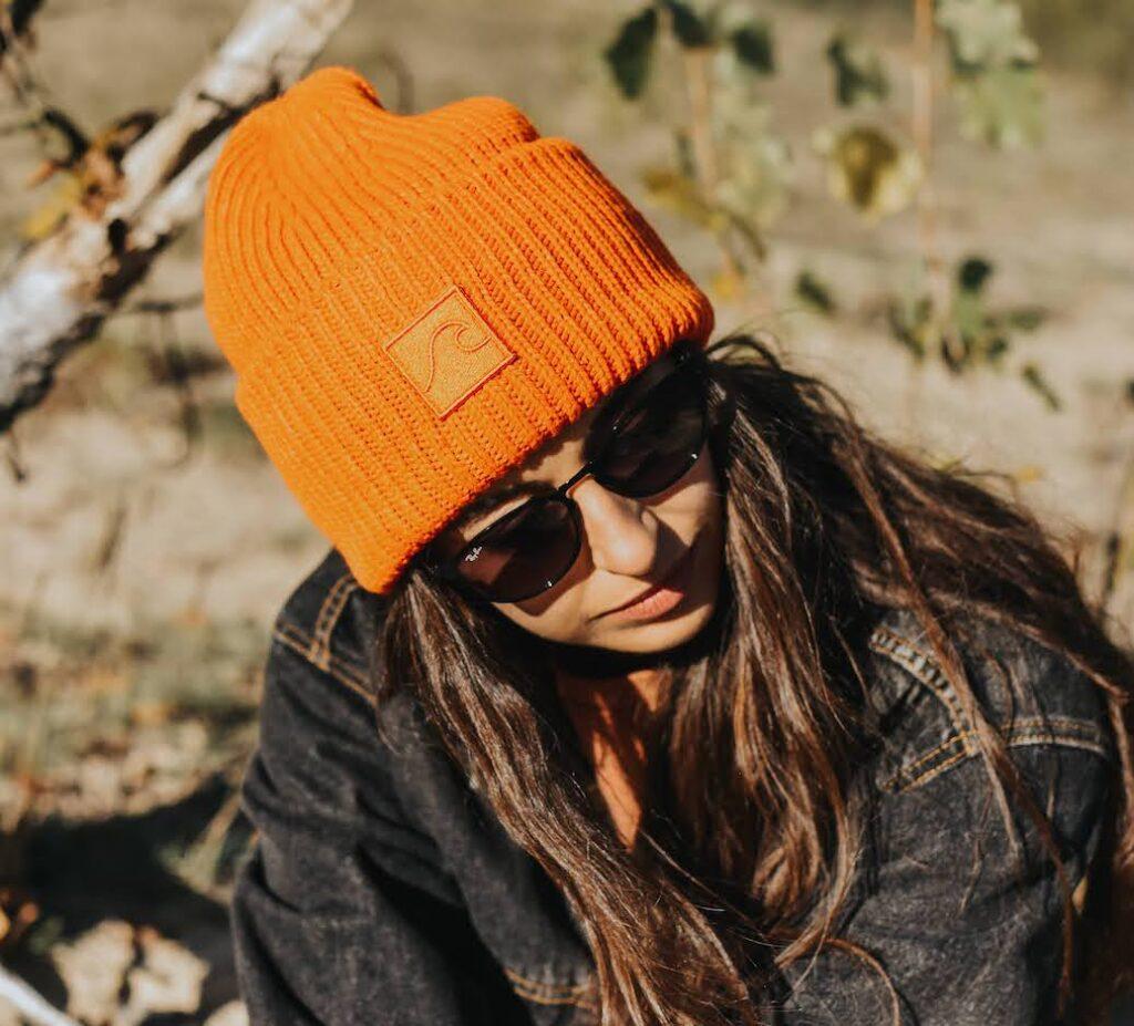 czapka beanie pomarańczowa wełna merino