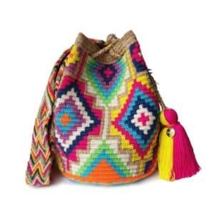 Kolorowa pleciona torebka w stylu boho