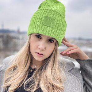 limonkowy czapka beanie niegryząca duża