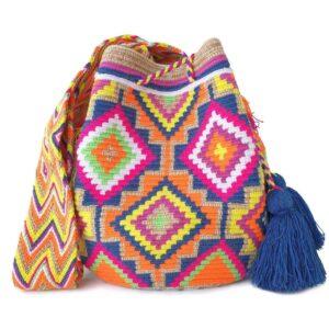 kolorowa plecioną torebka z pomponami Rozenek