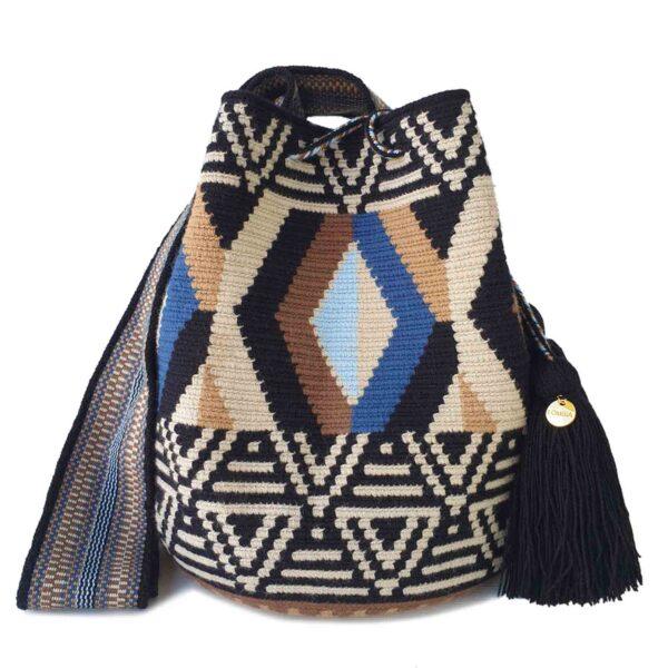 beżowo- niebieska pleciona wakacyjna torebka